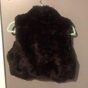 Daisy Fuentes Jackets & Coats - Black Faux Fur Mini Vest